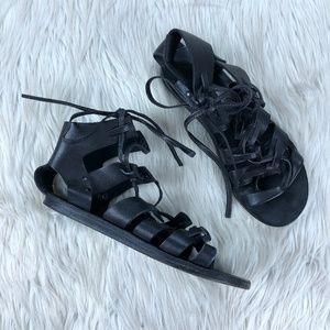 H by Hudson Black Leather Lace Up Gladiator Sandal